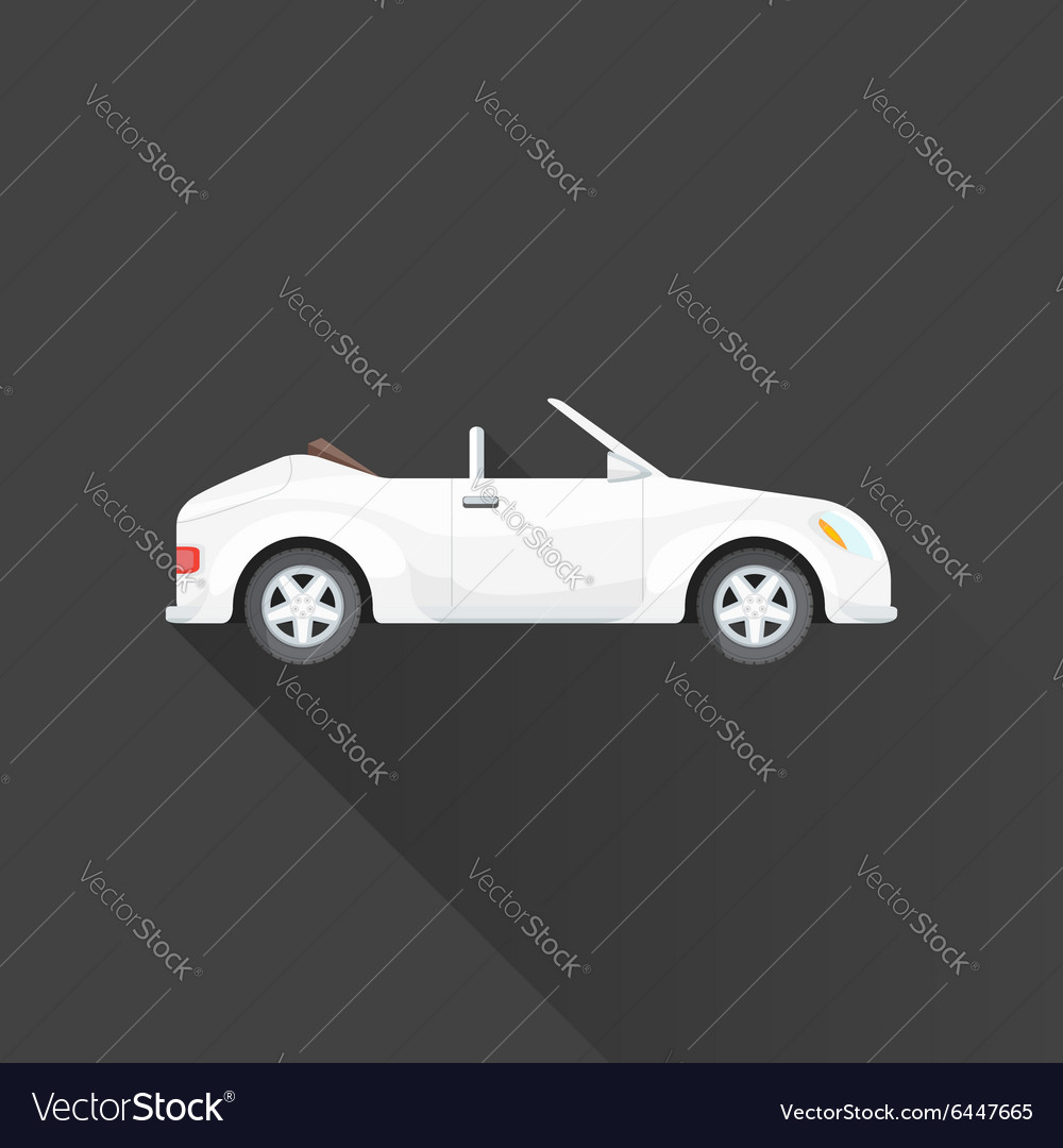 Flat cabriolet roadster car body style icon vector