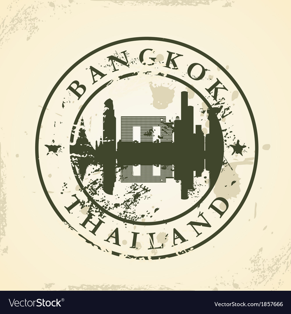 Grunge rubber stamp with bangkok thailand vector