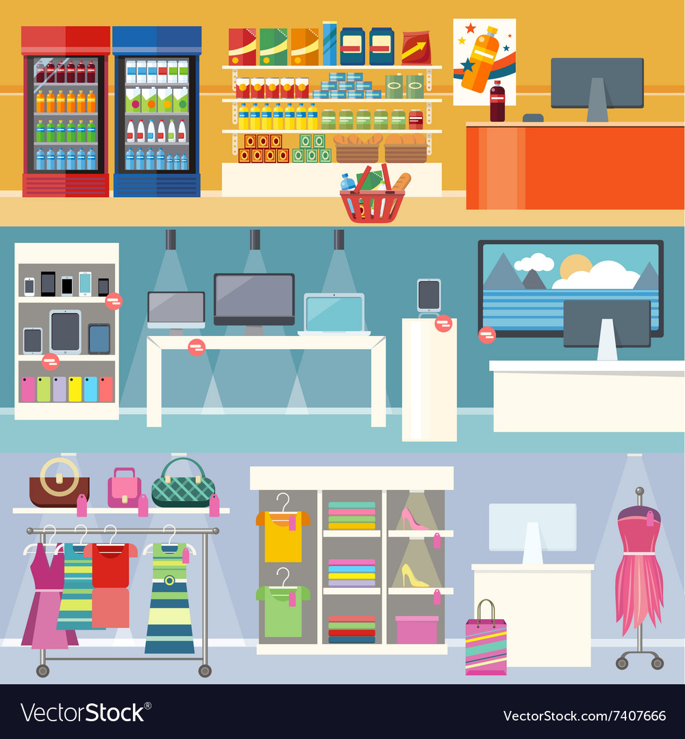 Interiors stores clothes technology and food vector