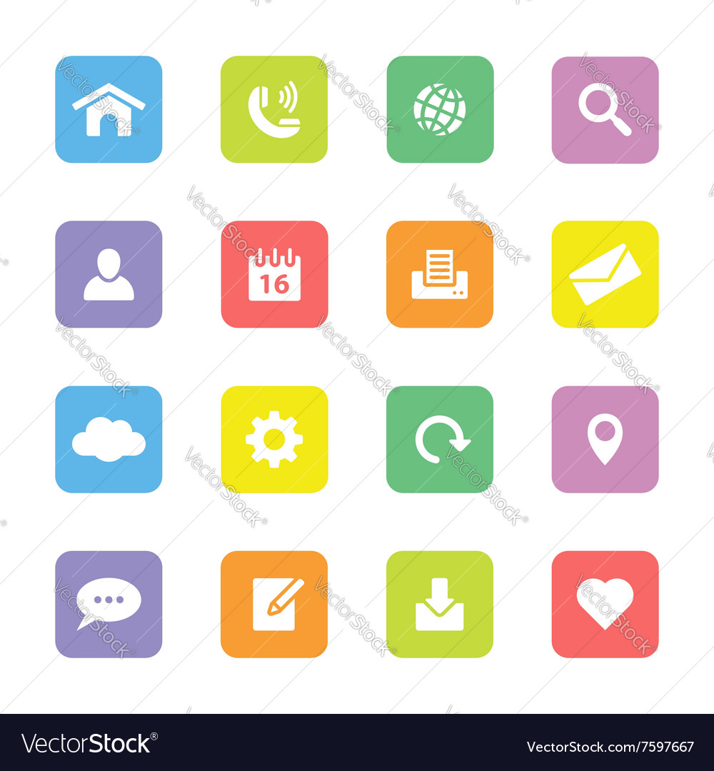 Colorful simple flat icon set 1 on rounded rectang vector