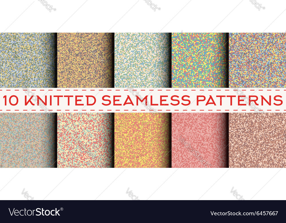 Set of 10 knitted seamless patterns vector
