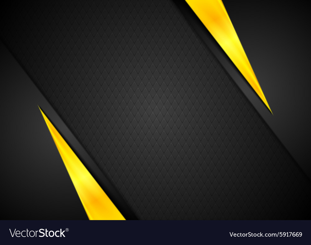 Dark contrast black yellow background vector