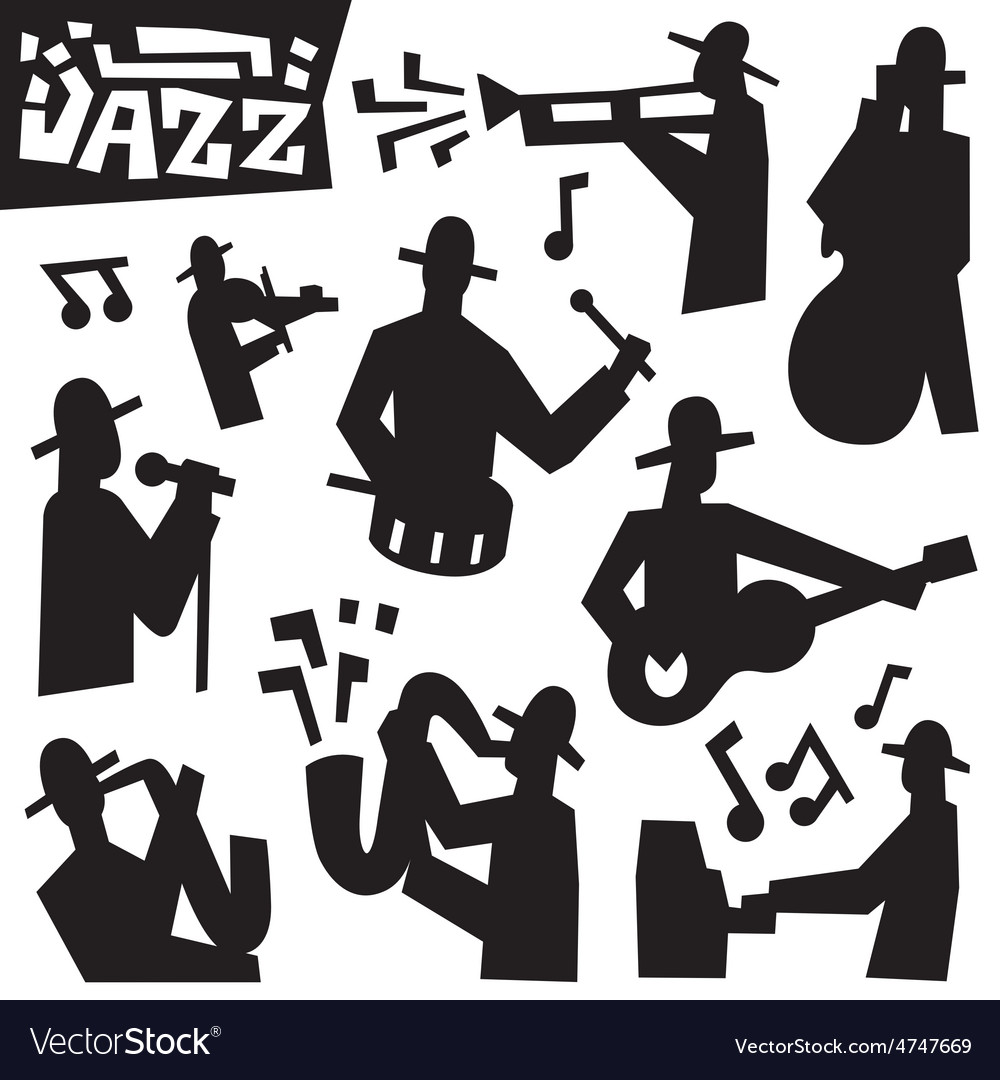 Jazz musicians  icons set vector