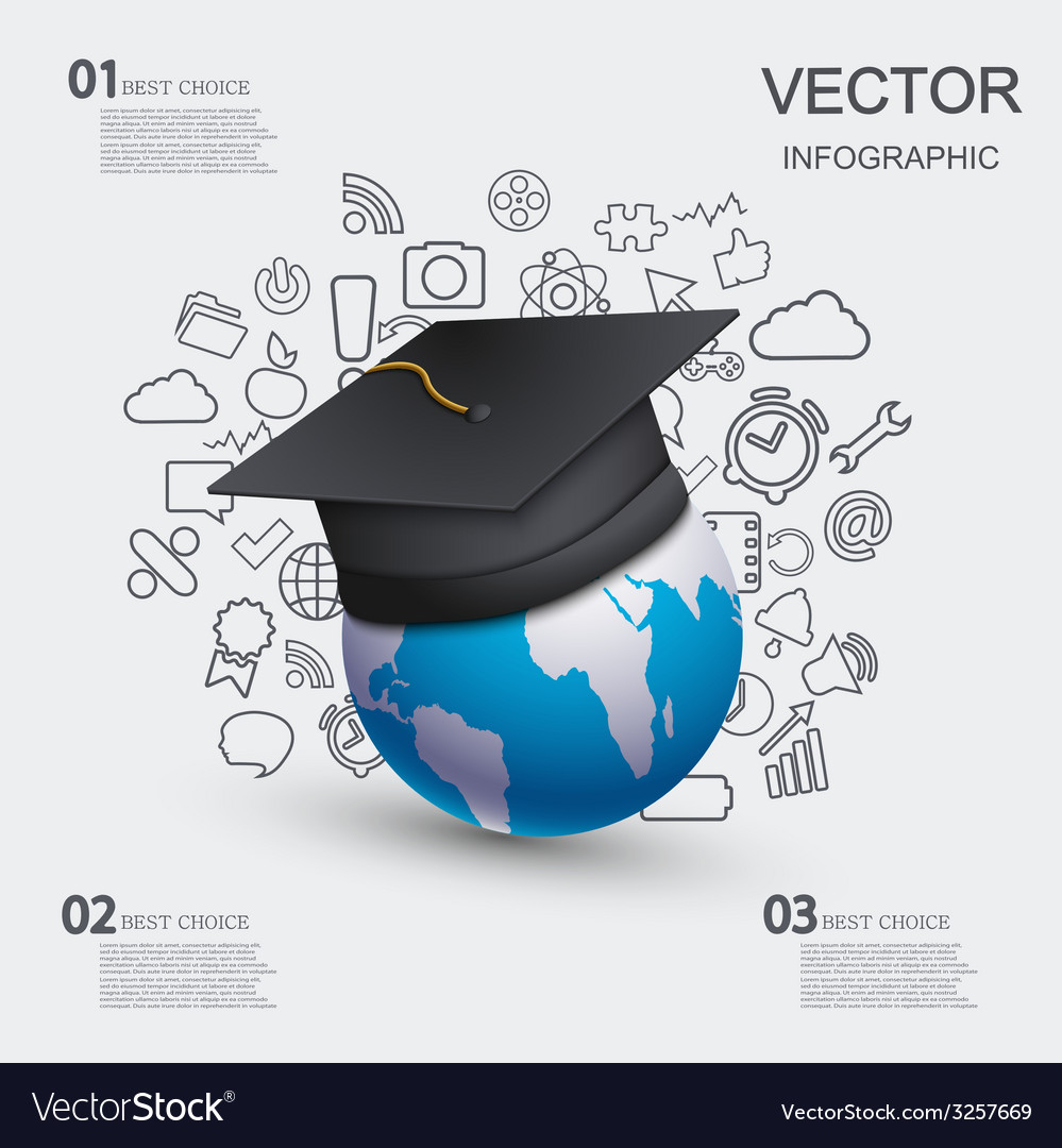 Modern education infographic background vector