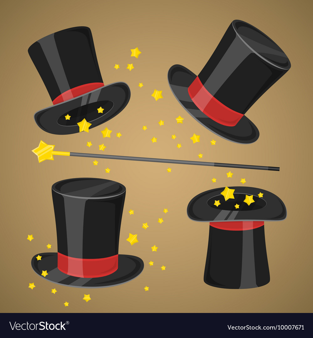 Magic hat and wand with sparkles vector