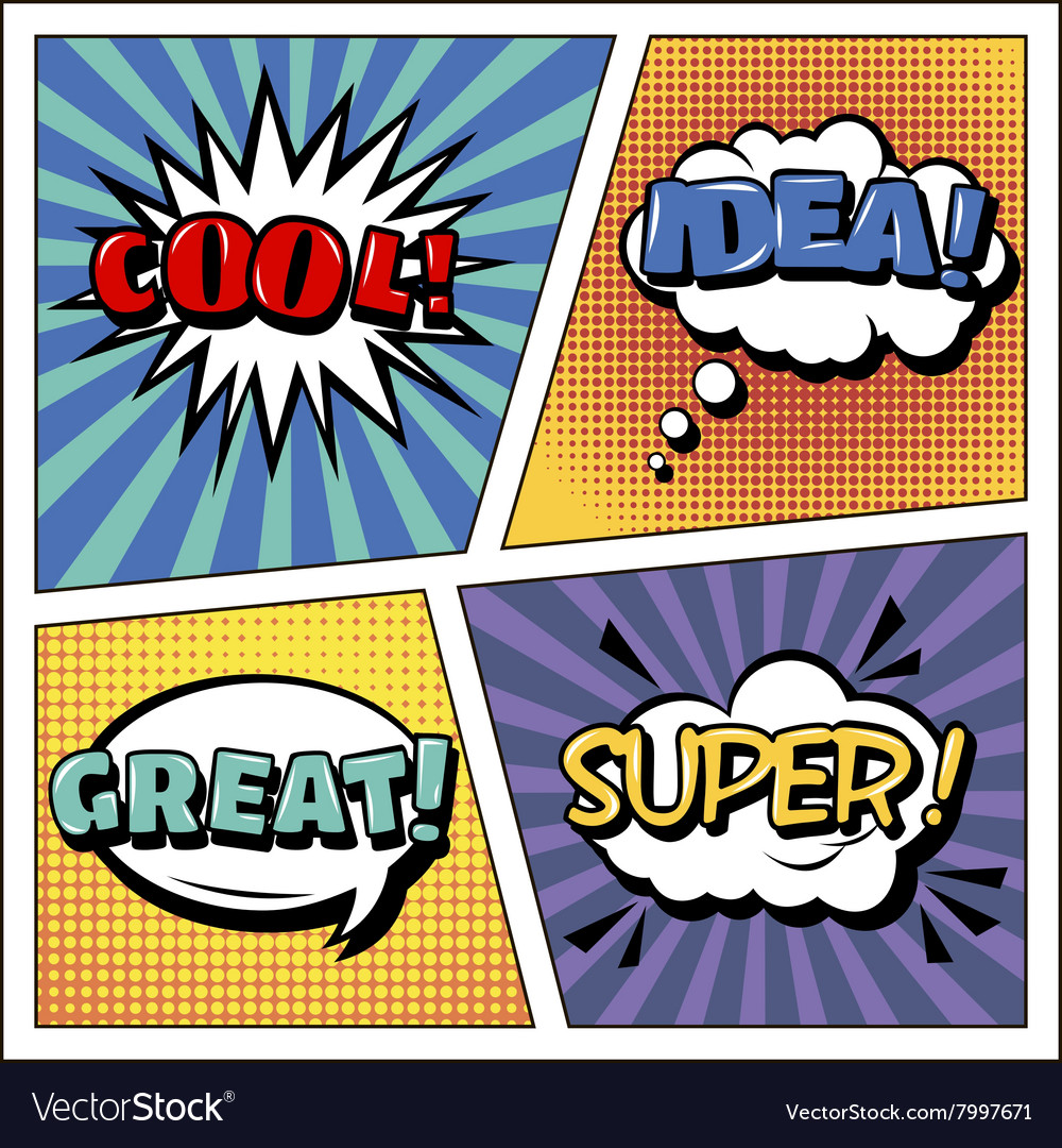 Pop art banner comics style expressions set bubble vector