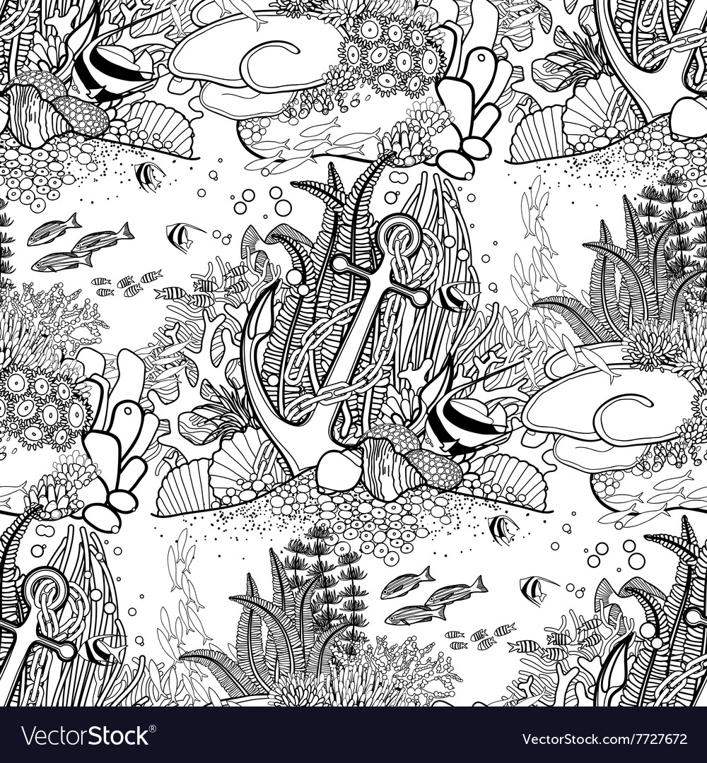 Anchor and coral reef pattern vector