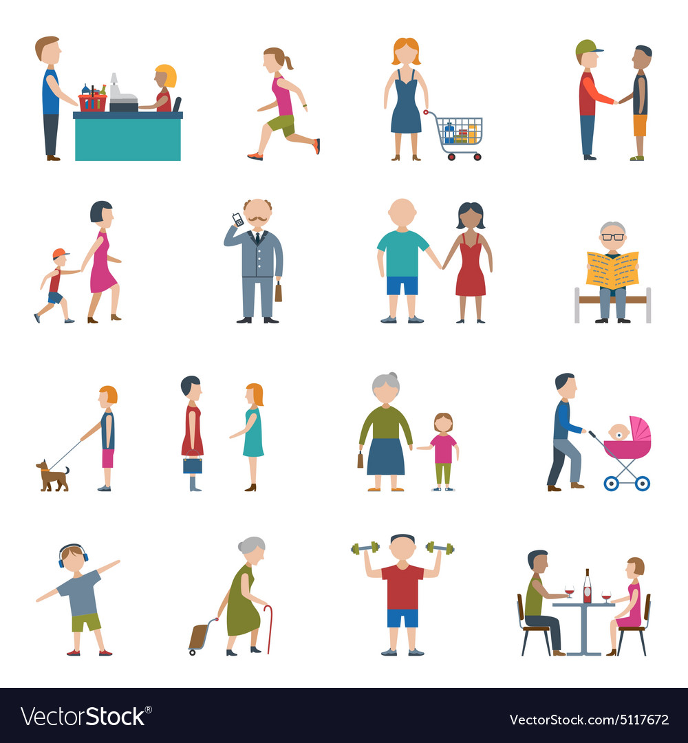 People lifestyle icon set vector