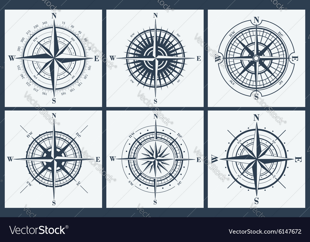 Set of compass roses or windroses vector