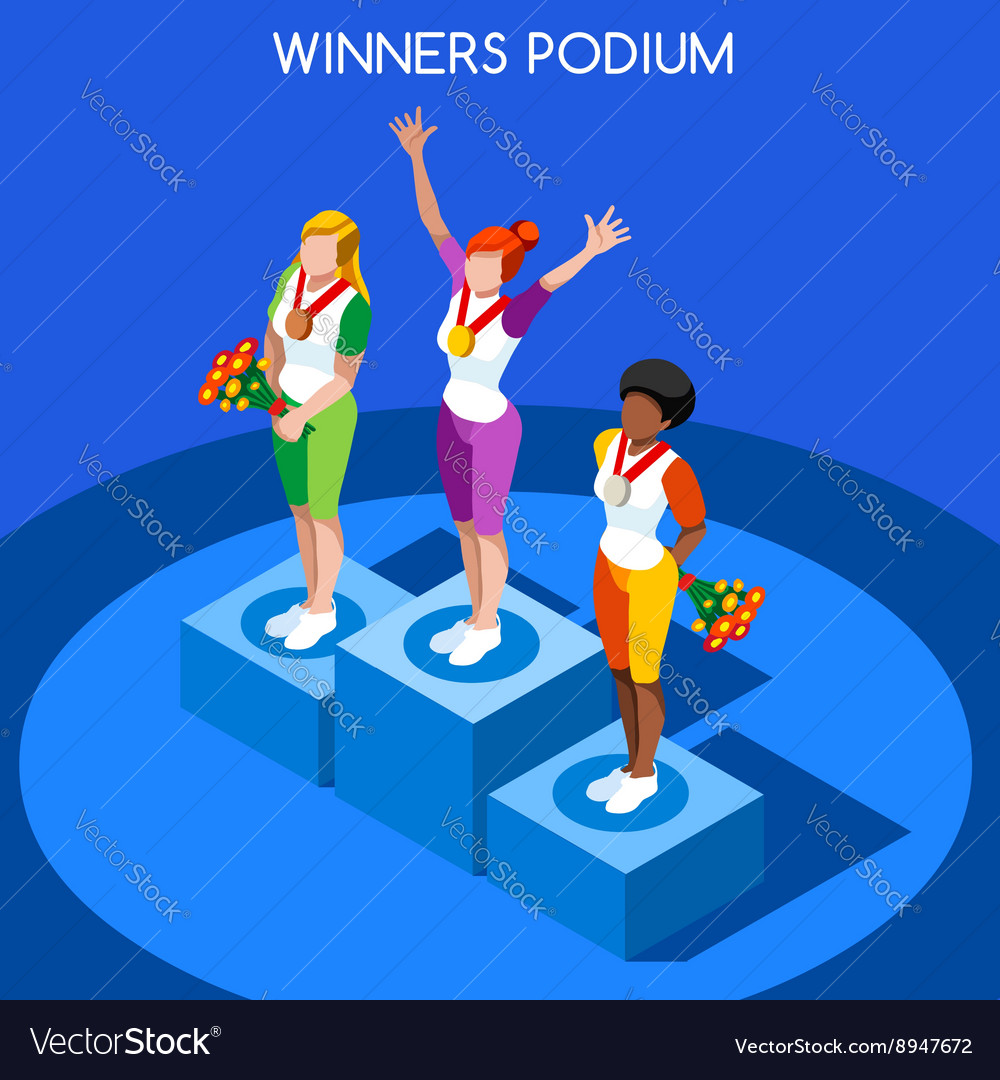 Winner podium 2016 summer games flat 3d vector