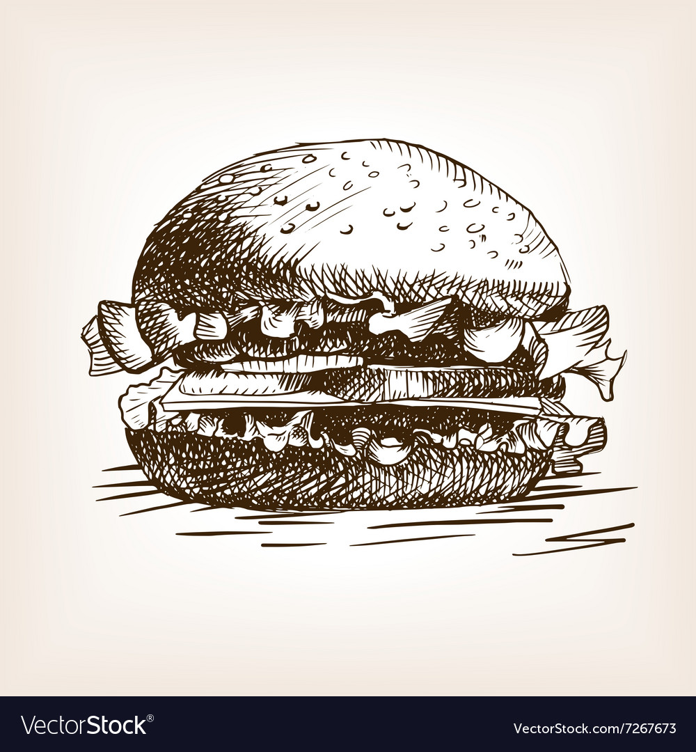 Burger sandwich hand drawn sketch style vector