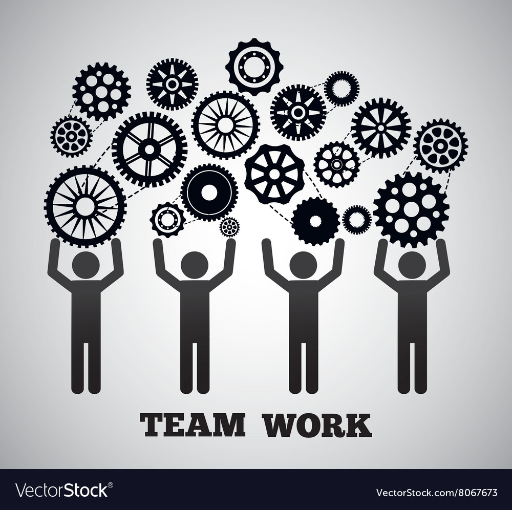 Teamwork and gears design vector