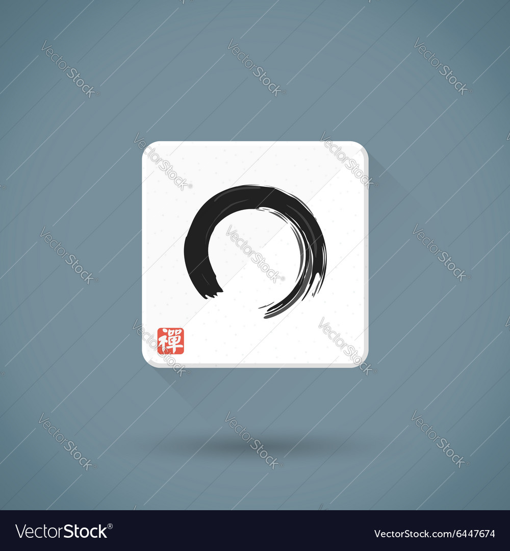 Flat enso hand drawn sign icon zen buddhism red vector