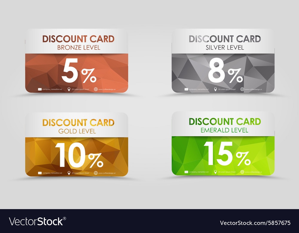 Discount cards polygonal background vector