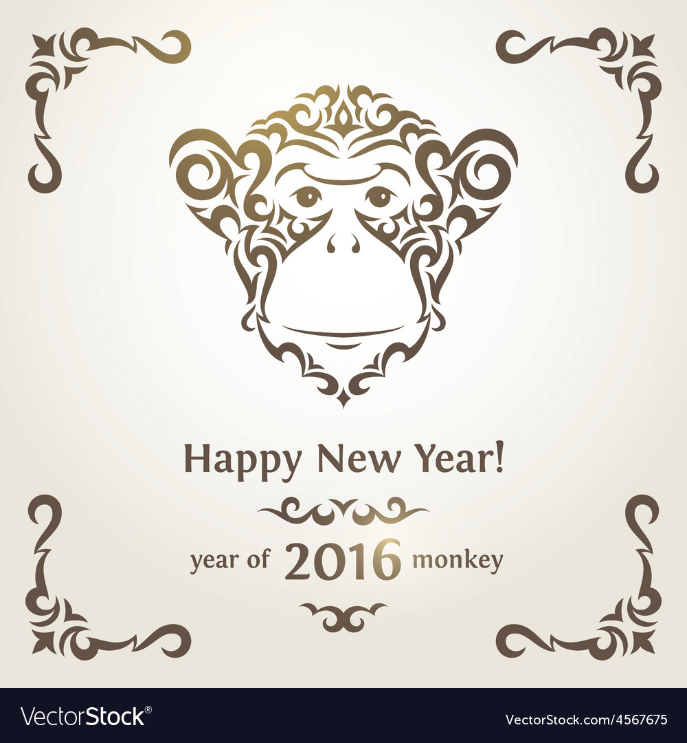 Greeting new year card with monkey  symbol of the vector