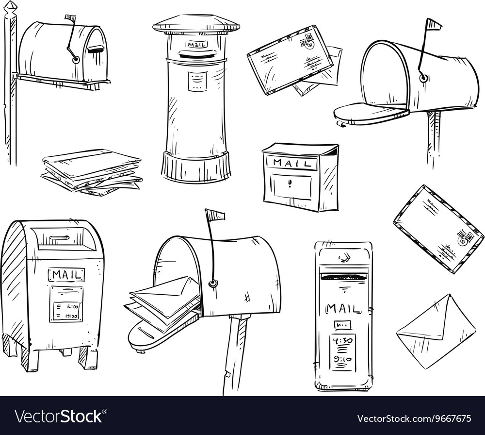 Mailboxes and letters vector