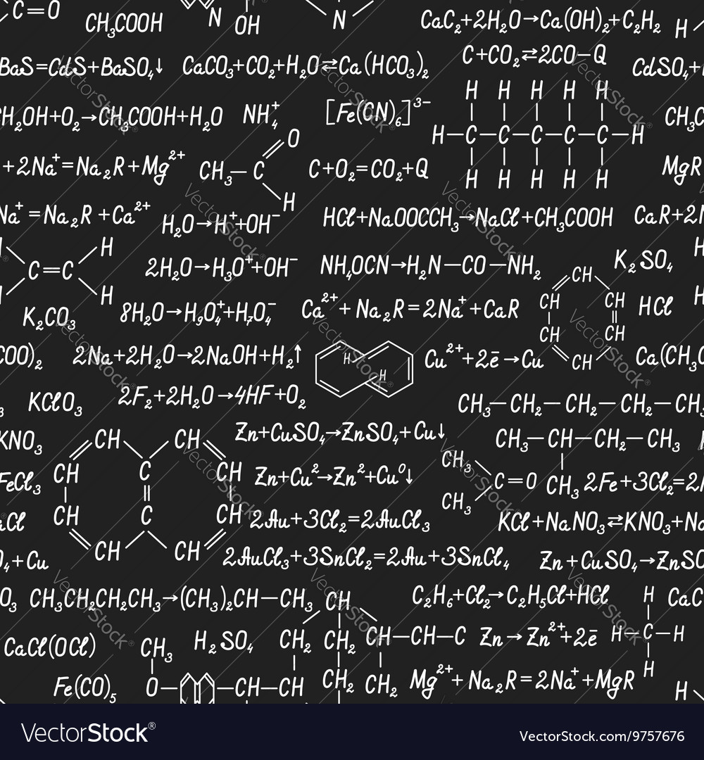 Chemistry seamless pattern on blackboard vector