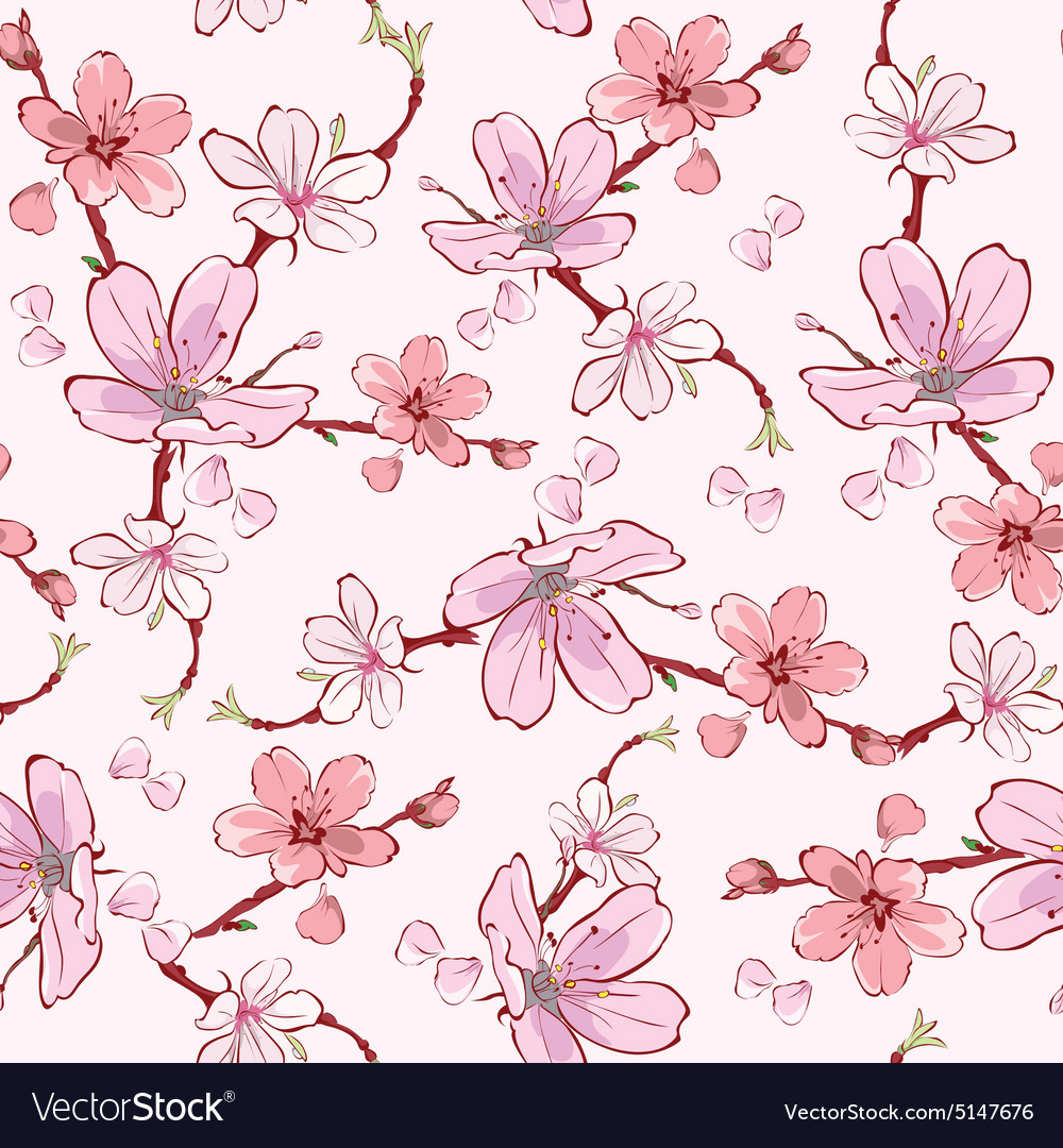 Pink cherry sakura flowers seamless pattern vector