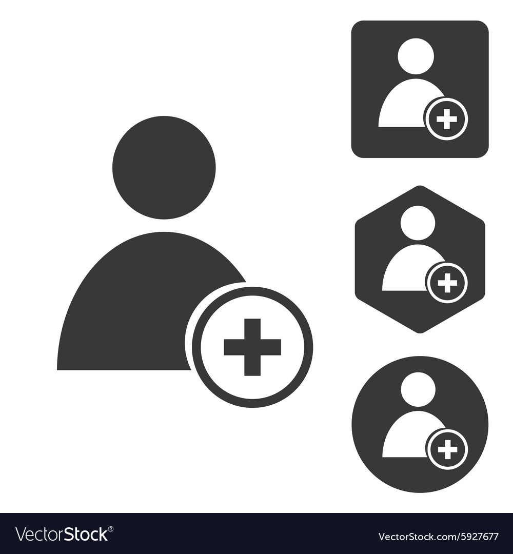 Add user icon set monochrome vector