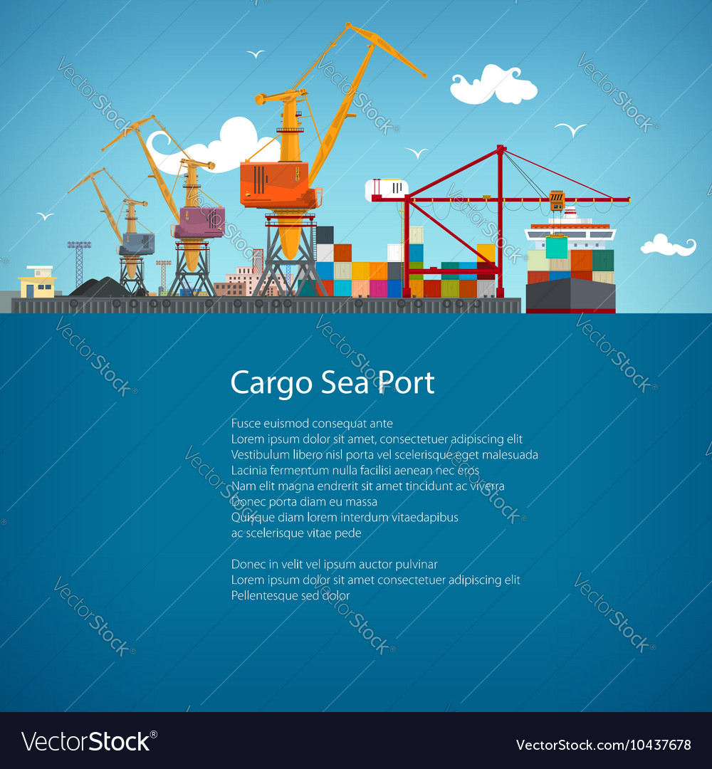 Cargo seaport poster brochure vector