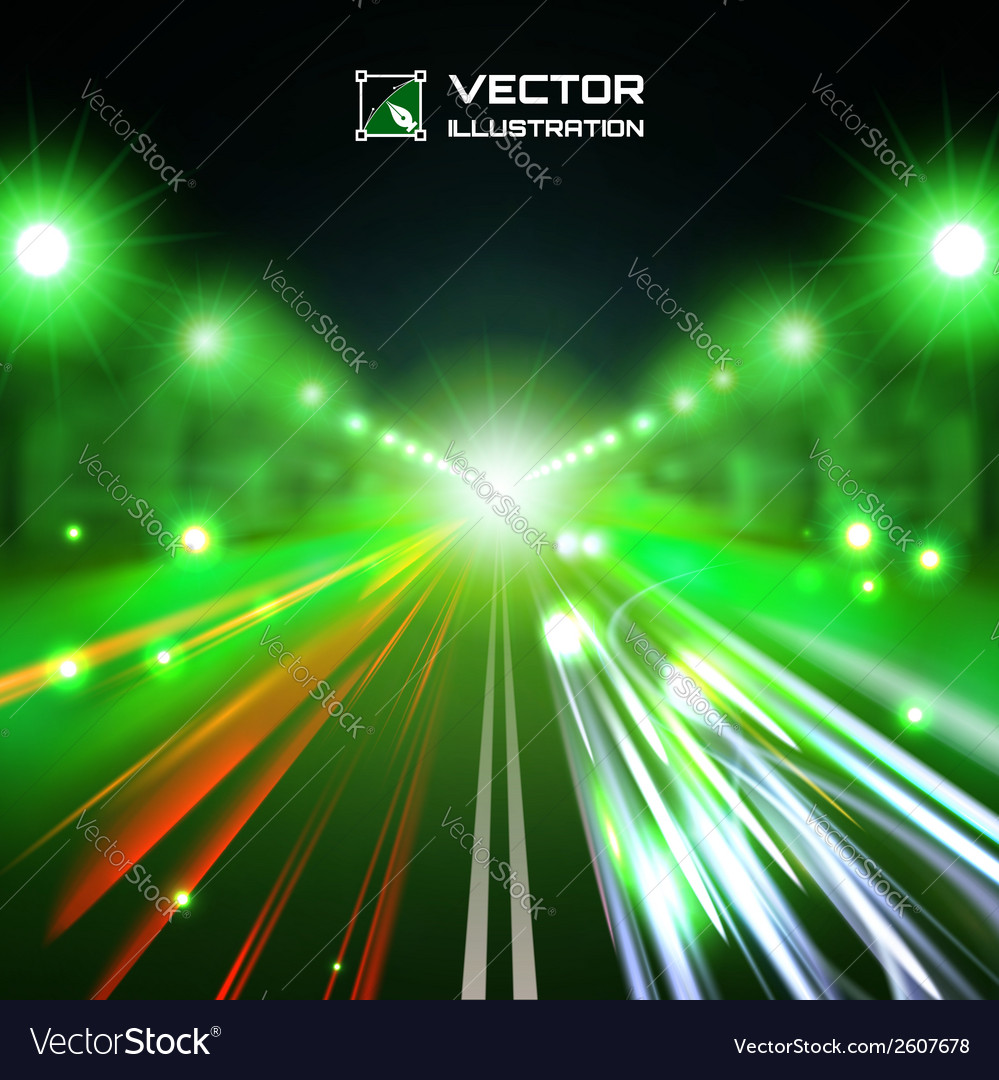 Green tint night road vector