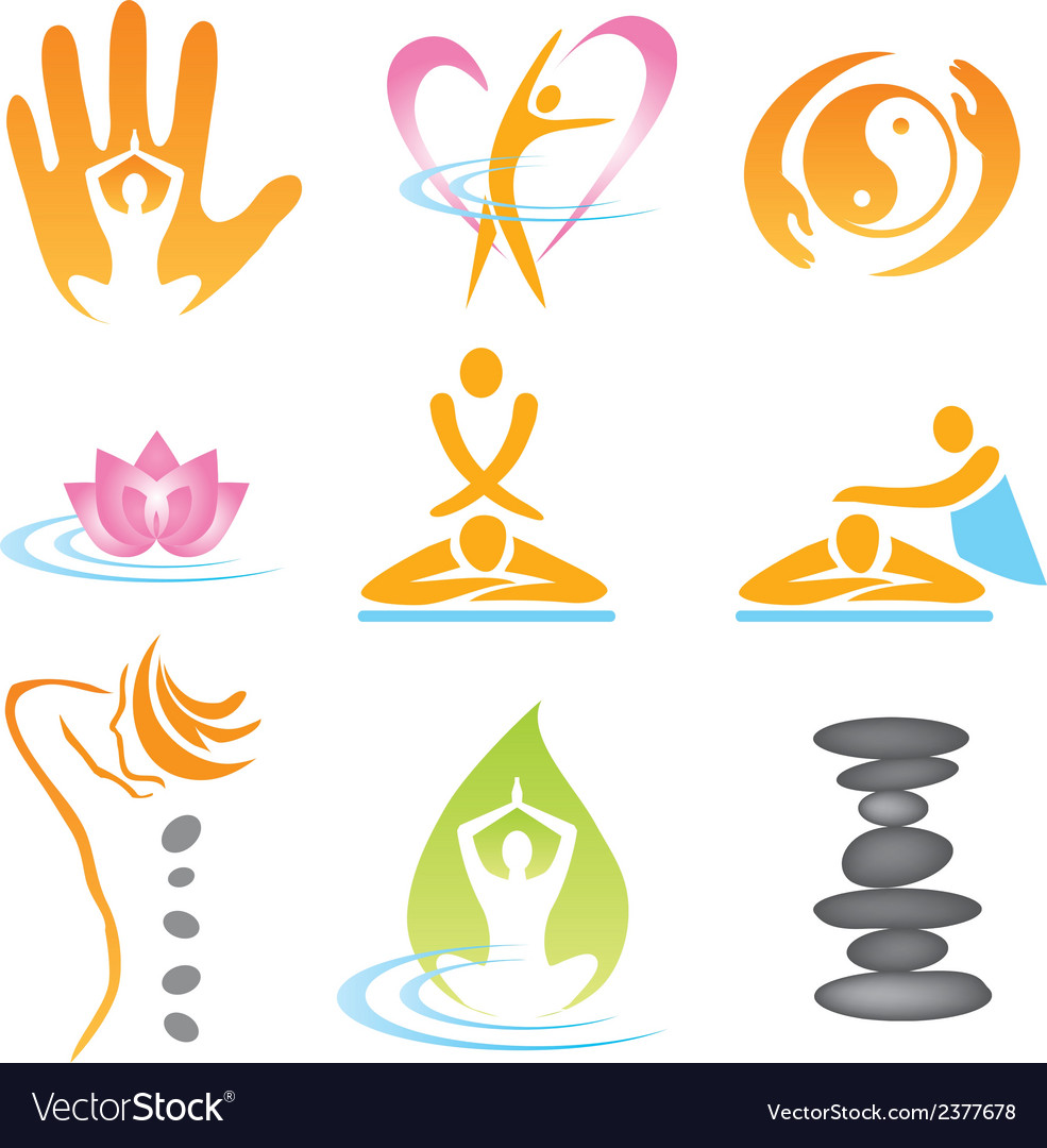 Icons spa massage vector
