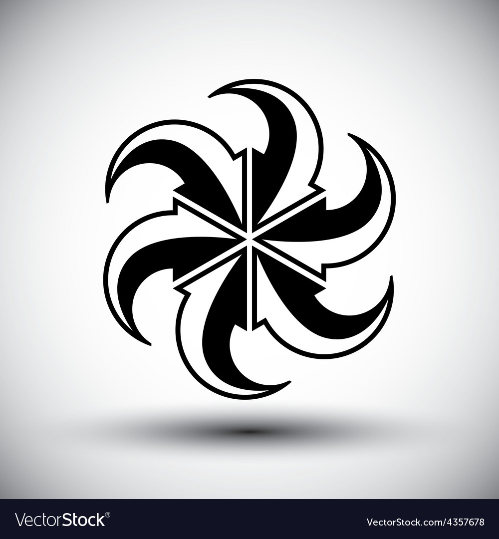 Six arrows loop conceptual icon special abstract vector