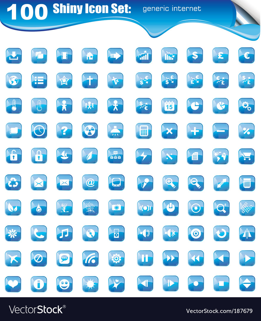 100 icons for websites button vector