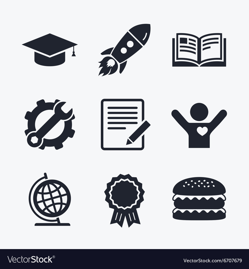 Pencil and open book signs graduation cap icon vector