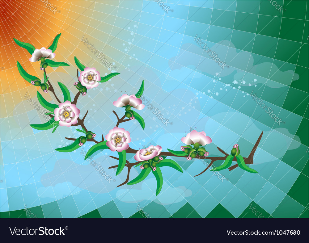 Branch of peach blossom vector
