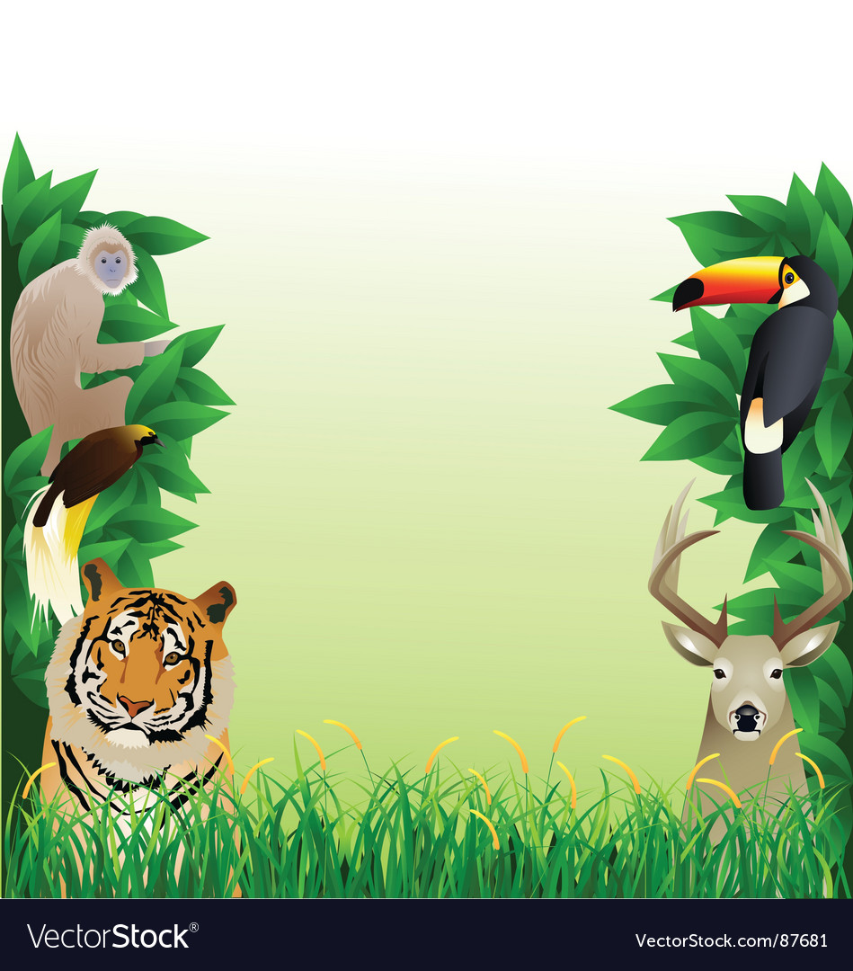 Animal forest frame vector