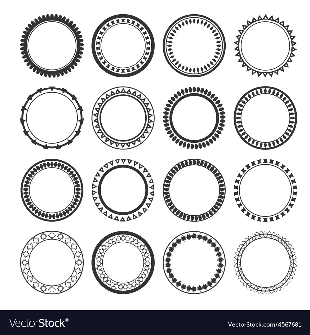 Collection of ethnic borders round frames isolated vector