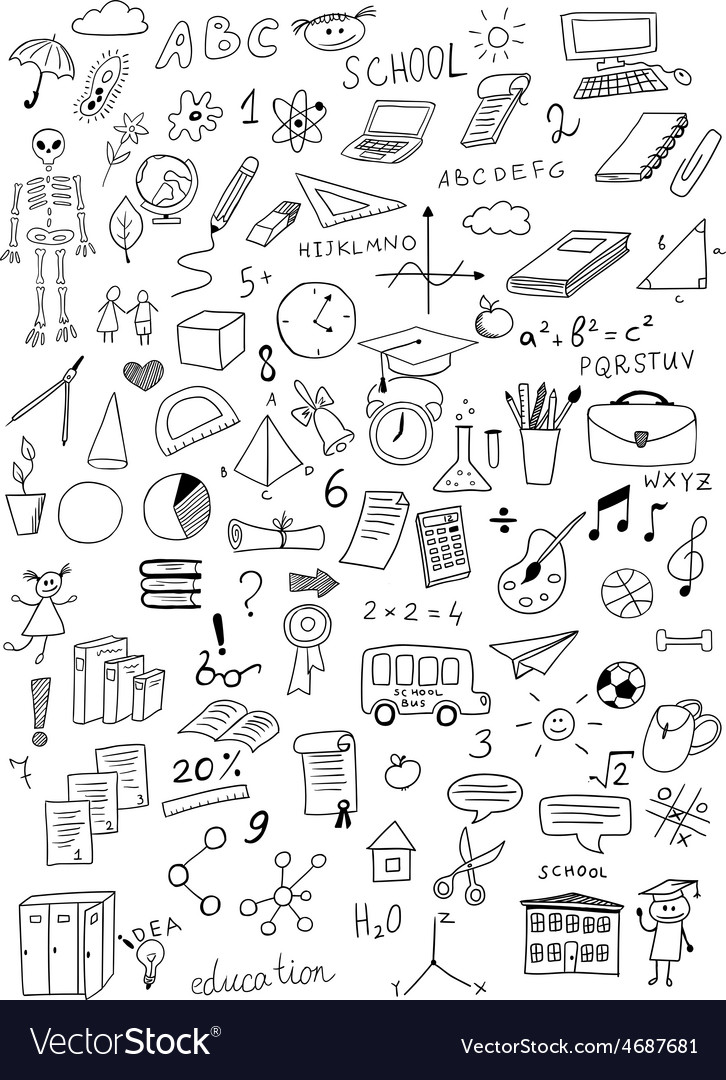 Hand drawn education set vector