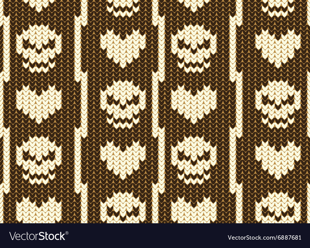 Hearts and skull knitted pattern vector