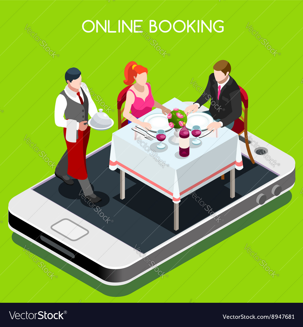 Online booking isometric people vector