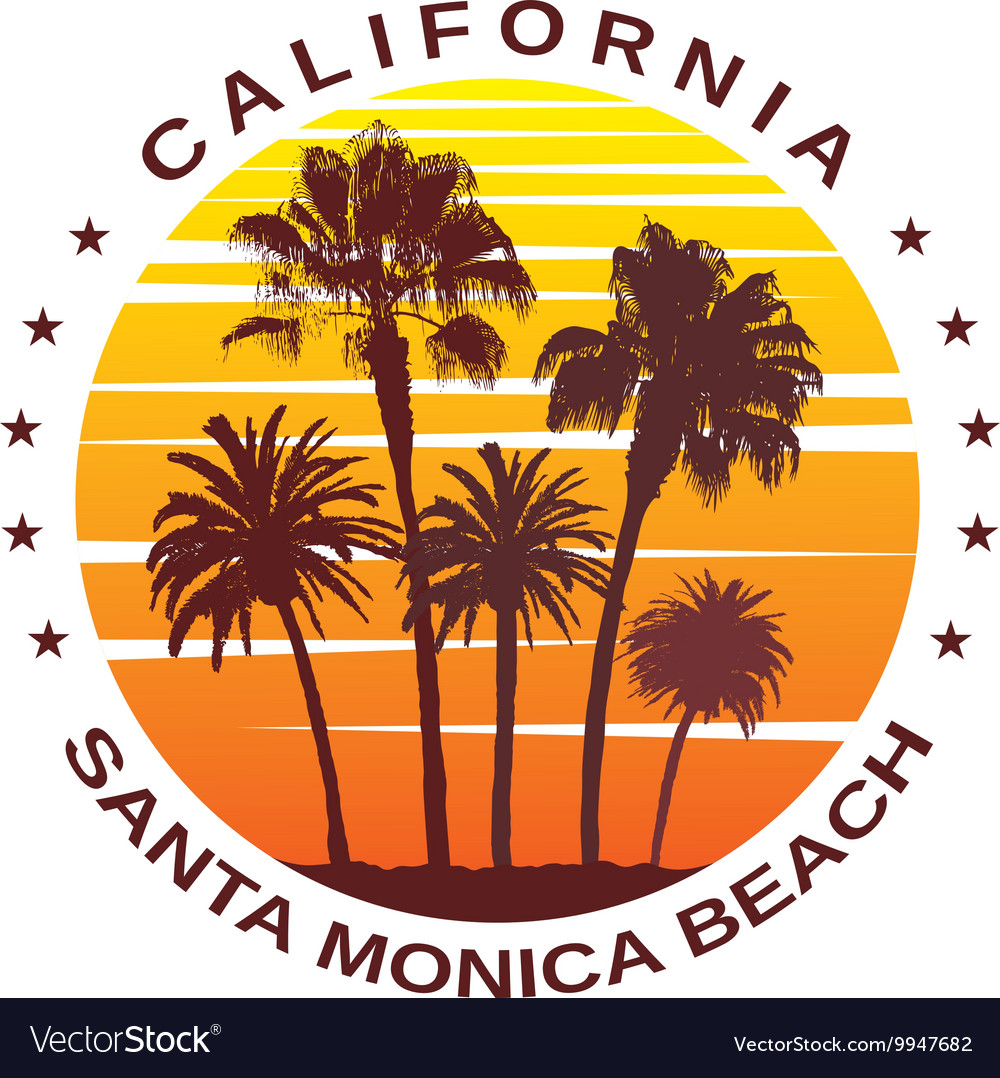 Travel background for santa monica california vector