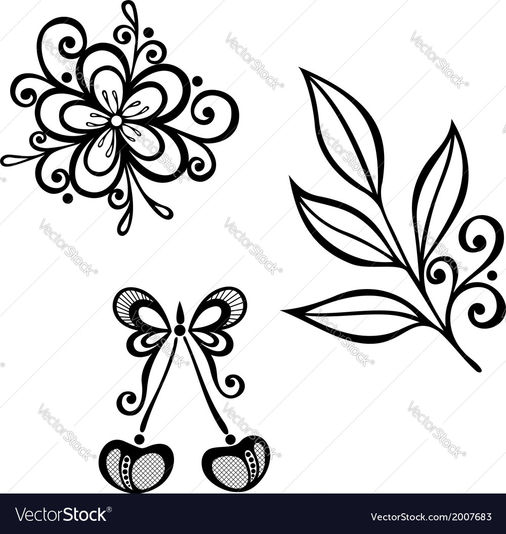 Decorative cherry branch set vector