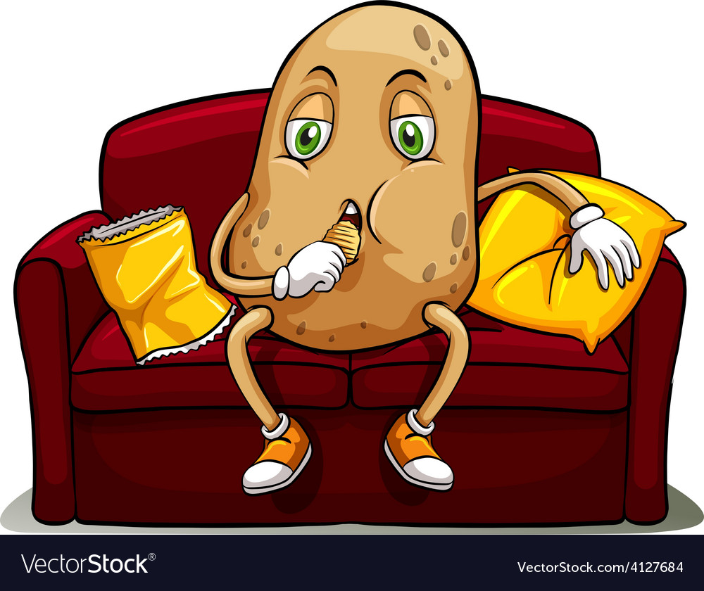 Couched potato on a red sofa vector