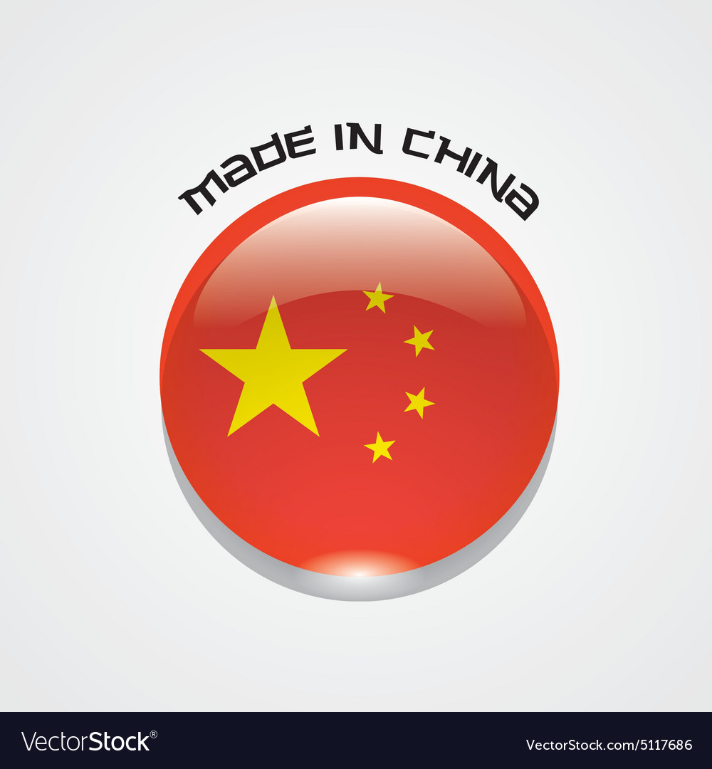 Made in china sign with chinese flag vector