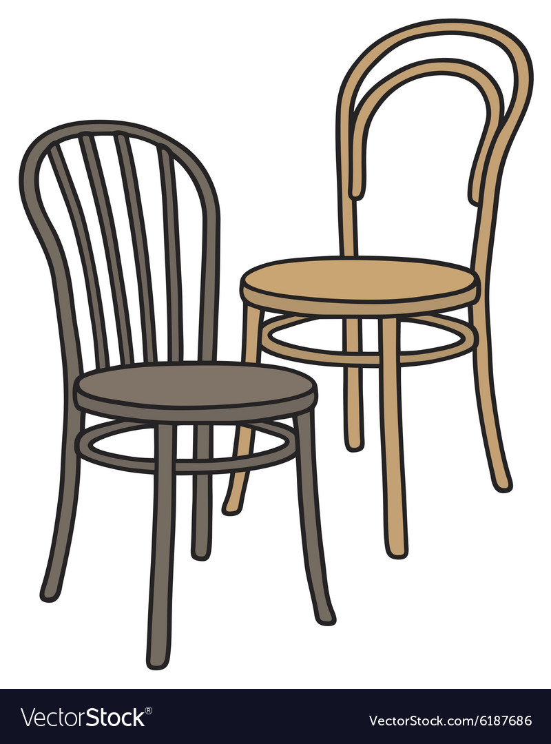 Old wooden chairs vector