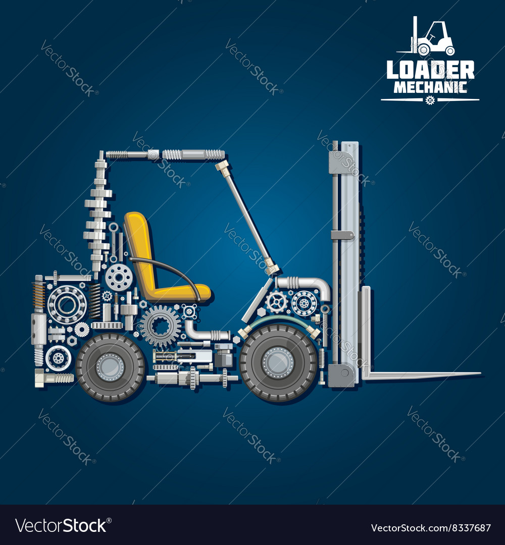 Forklift truck silhouette composed of details vector