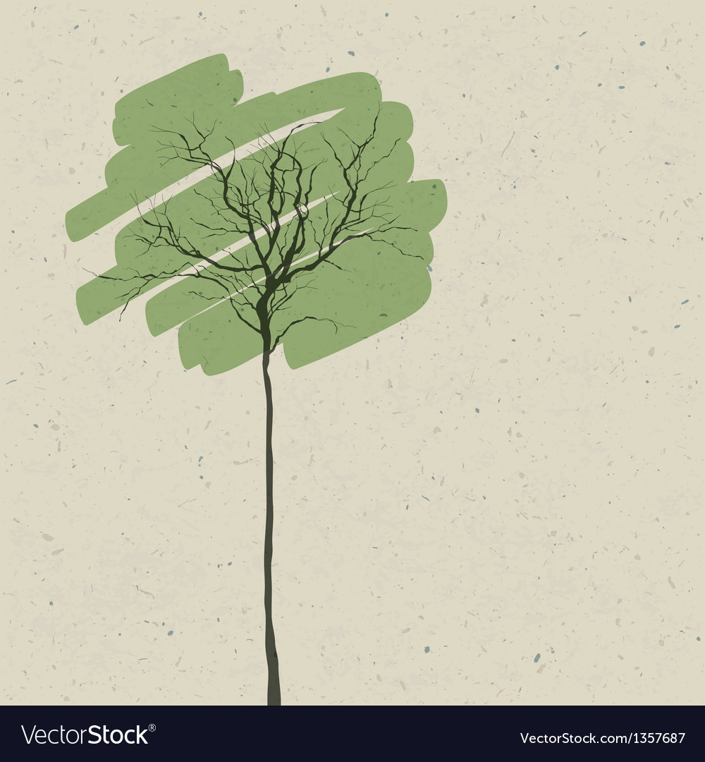 Green tree on recycled paper texture vector