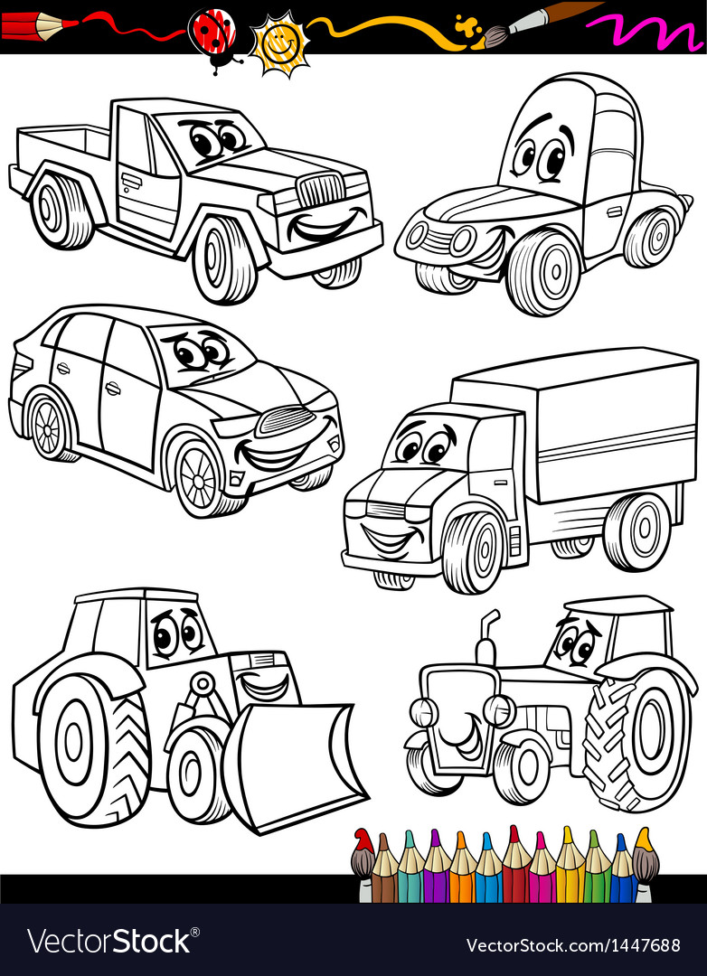 Cartoon vehicles set for coloring book vector