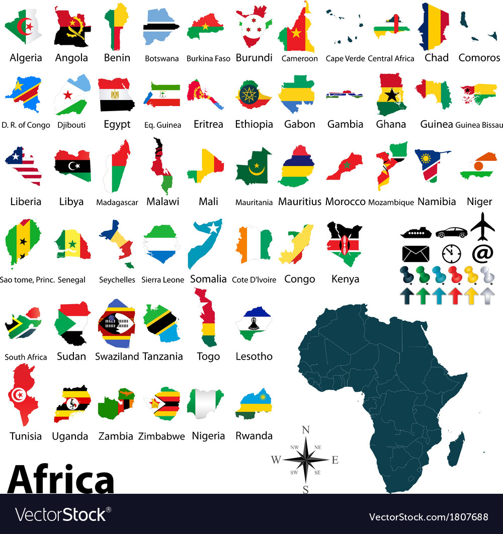 Maps with flags of africa vector