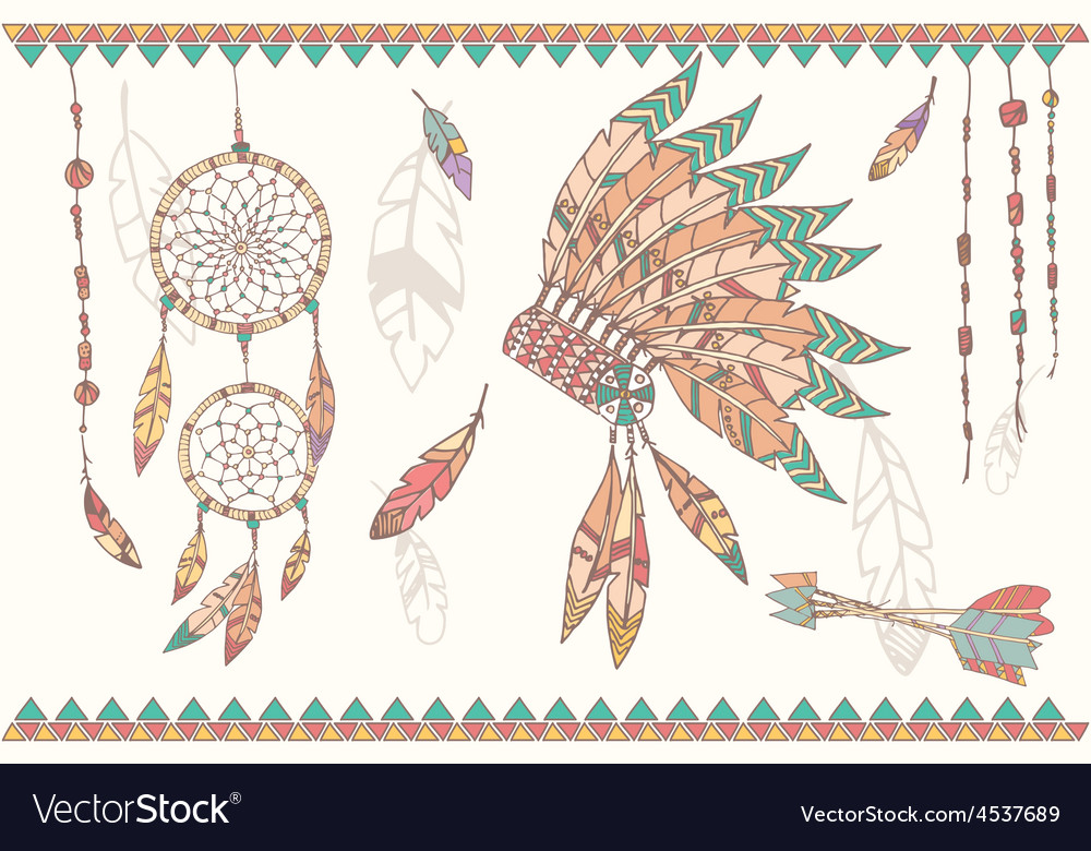 Native american dream catcher headdress vector