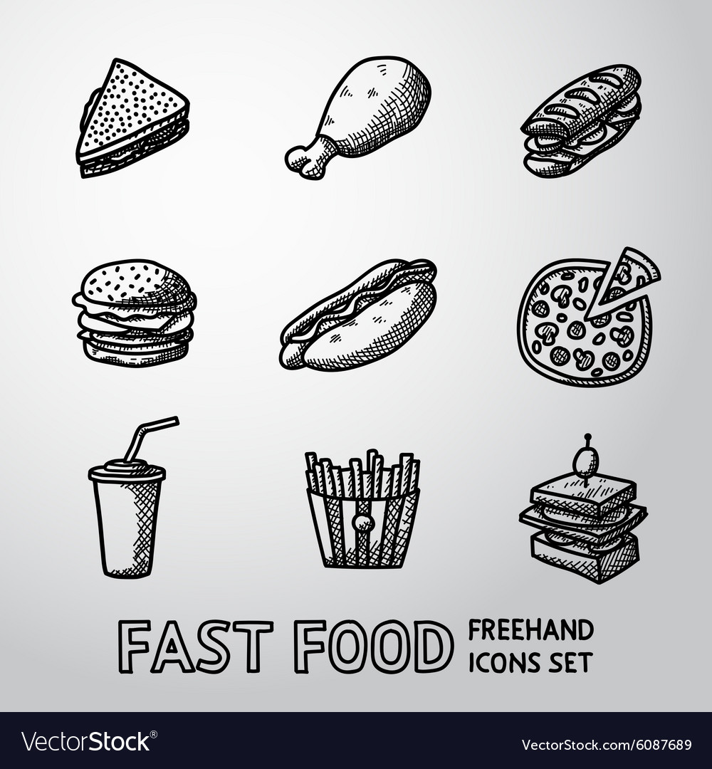 Set of freehand fast food icons  sandwich vector