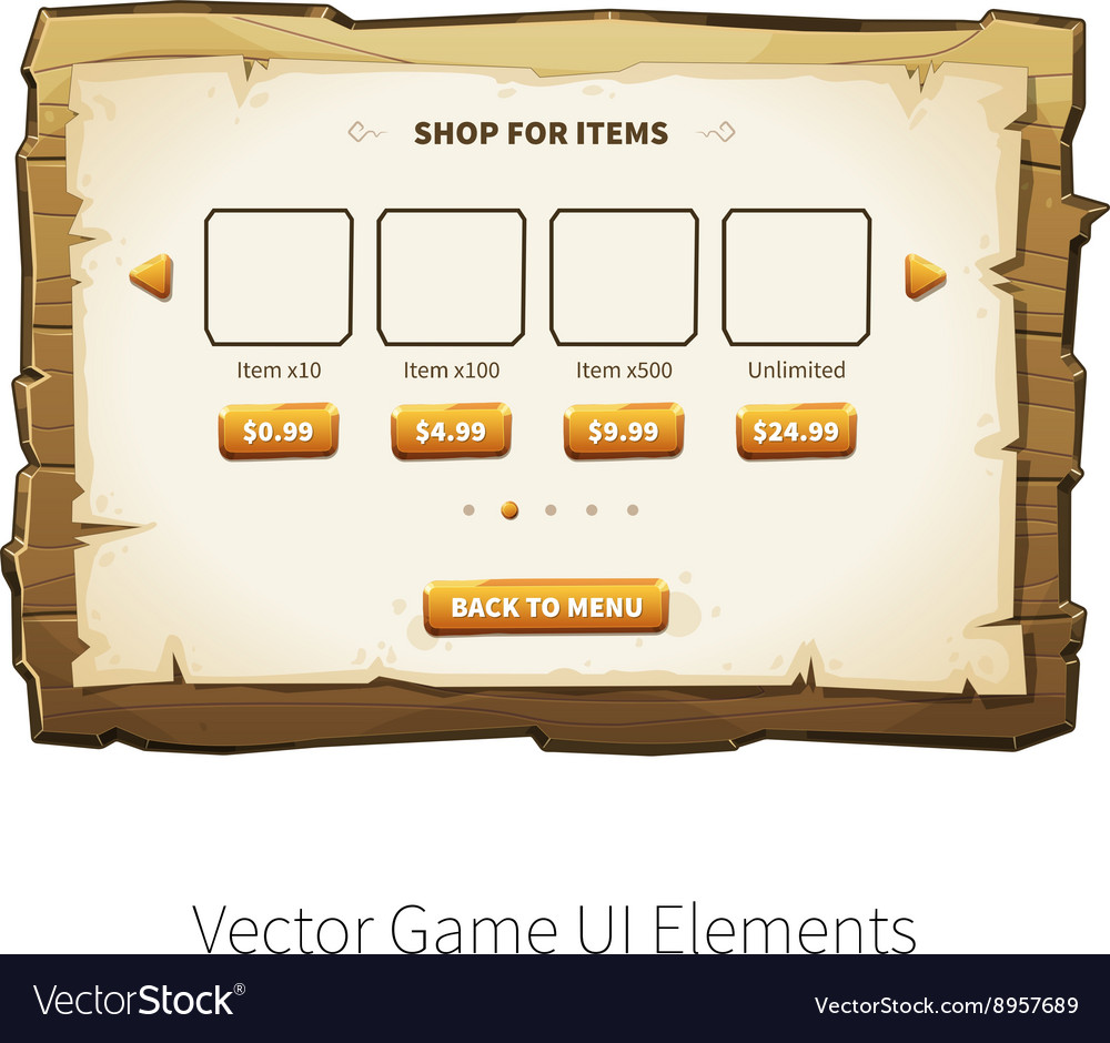 Wooden game ui vector