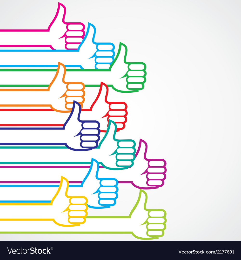 Colorful like or thumbsup sign background vector