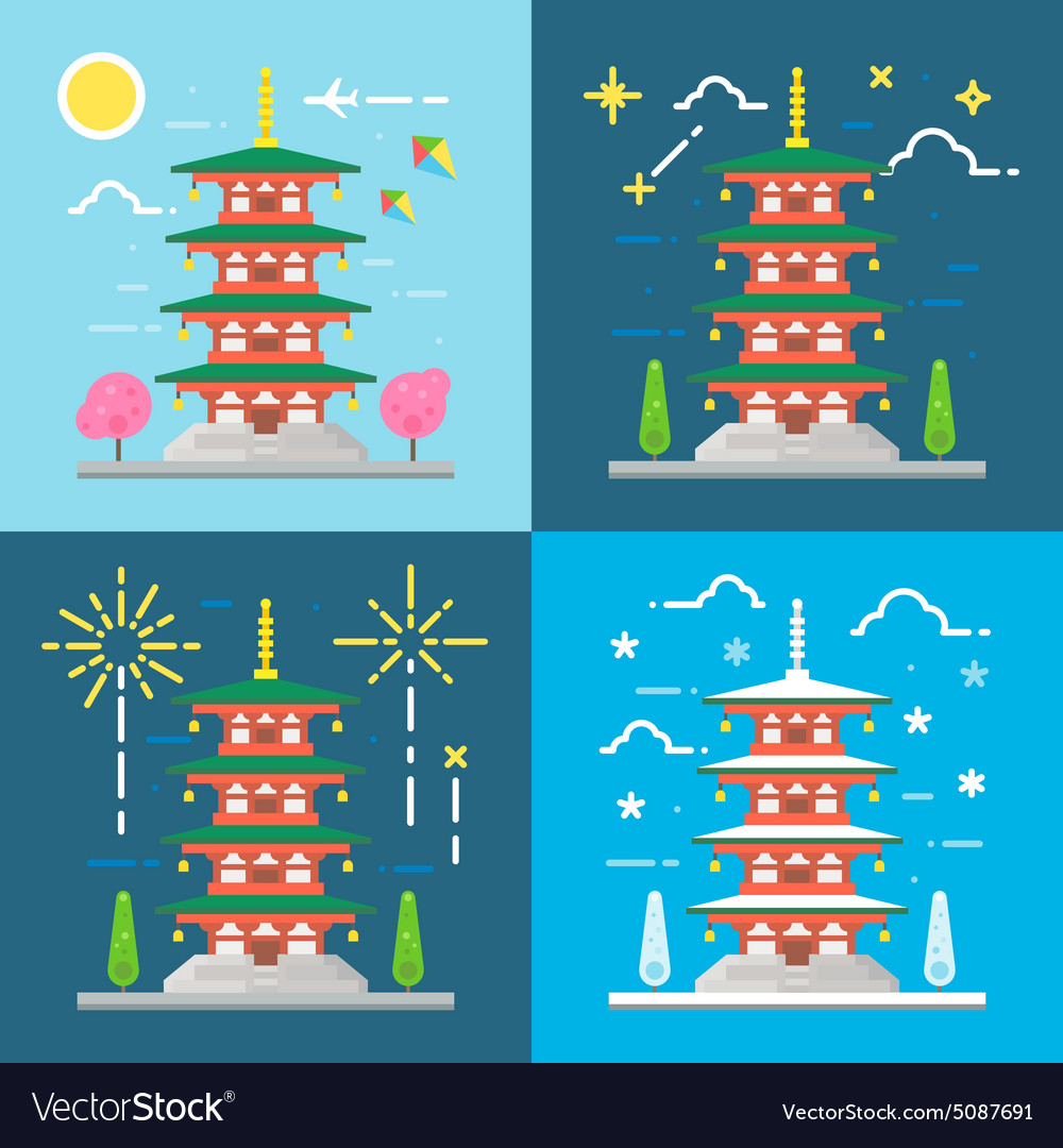 Flat design 4 styles of chureito pagoda japan vector