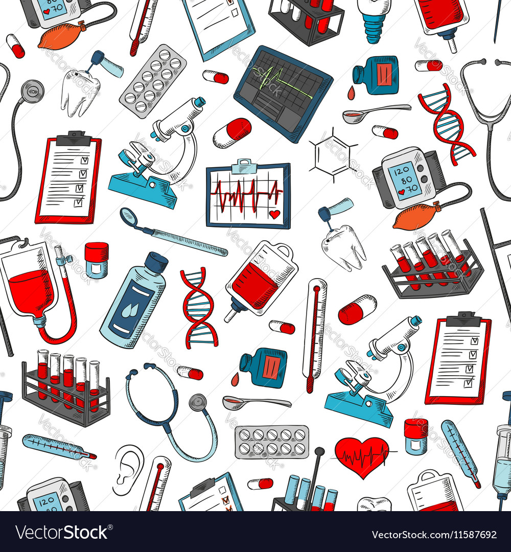 Medical items seamless pattern vector